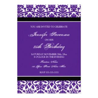Lila Damast-25 Geburtstags-Party Einladungen