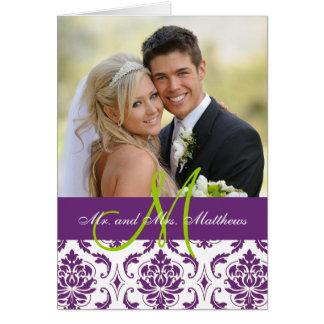 Lila Damast-Hochzeits-Foto danken Ihnen zu Grußkarte