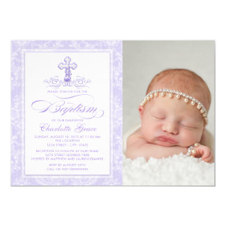 Lila Damast-Kreuz-Mädchen-Foto-Taufe-Einladung Karte