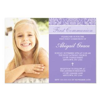 Lila Damast-Mädchen-Foto-erste Kommunion 12,7 X 17,8 Cm Einladungskarte