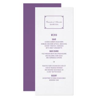Lila Dekochic-Hochzeits-Menü Karte