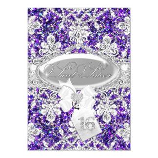 Lila Diamant-Glitter-Prinzessin Sweet 16 laden ein 11,4 X 15,9 Cm Einladungskarte