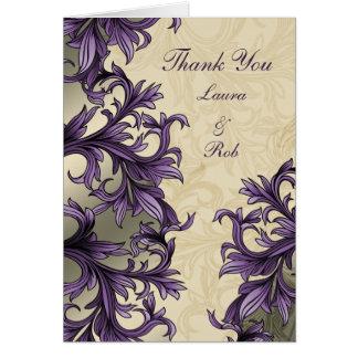 lila Eleganzhochzeit danke Karten