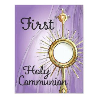 Lila erste Kommunions-Mitteilung 10,8 X 14 Cm Einladungskarte