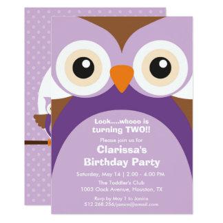 Lila Eulen-Geburtstags-Party Einladung