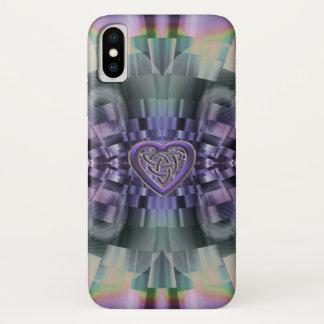 Lila Fraktal-keltischer Herz-Knoten iPhone X Fall iPhone X Hülle