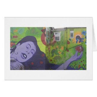 Lila Frauen-Wandgemälde Mitteilungskarte