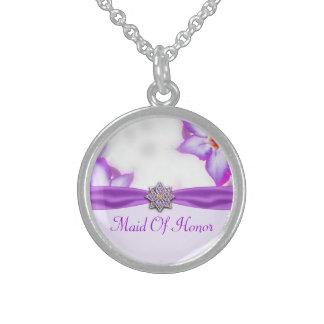 Lila Frühlings-Blumenwatercolor-Hochzeit Sterling Silberkette