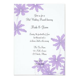 Lila Gänseblümchen-Posten-Hochzeitbrunch-Einladung 12,7 X 17,8 Cm Einladungskarte