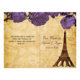 Lila gefaltetes Wedding Programm Flyer