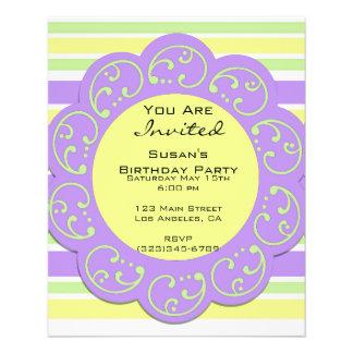 Lila gelbes gestreiftes Party lädt ein Flyer