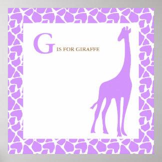 Lila Giraffen-Baby-Kinderzimmer Poster