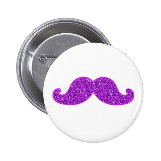 Lila Glitter des Girly Schnurrbartes des Spaßes Runder Button 5,1 Cm