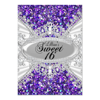 Lila Glitter-Diamanttiara-Bonbon 16 laden ein 12,7 X 17,8 Cm Einladungskarte
