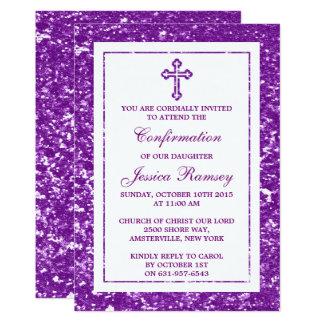 Lila Glitter-Kreuz-heilige Kommunion/Bestätigung 12,7 X 17,8 Cm Einladungskarte