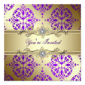 Lila Golddamast-lila Party Quadratische 13,3 Cm Einladungskarte