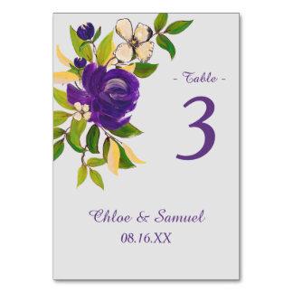Lila Goldwatercolor-Blumenstrauß-Hochzeit
