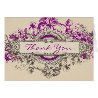 Lila graue Vintage Blumenhochzeit danken Ihnen zu Grußkarte