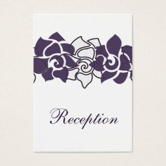 lila Hochzeit Empfangs-mit Blumenkarten Visitenkarte