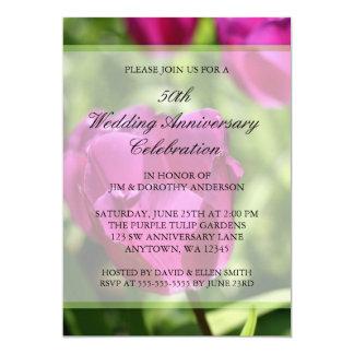 Lila Hochzeits-Jahrestag der Tulpe-50. 12,7 X 17,8 Cm Einladungskarte