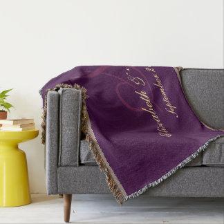 Lila Hochzeits-Jahrestags-Paar-Jungvermählten Decke