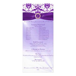 Lila Hochzeits-Zeremonie-Programm Werbekarte