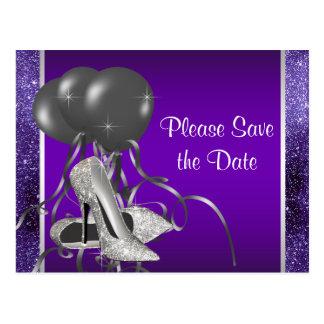 Lila hohe Fersen-Schuh Save the Date Postkarte