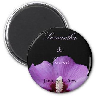 Lila Hydrangea-persönliche Hochzeit Runder Magnet 5,7 Cm