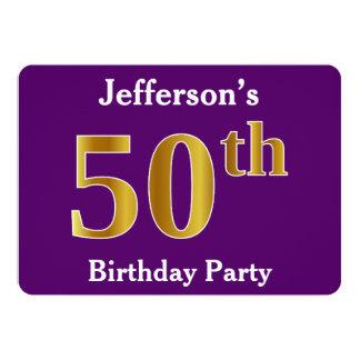 Lila, Imitat-Gold50. Geburtstags-Party; 12,7 X 17,8 Cm Einladungskarte