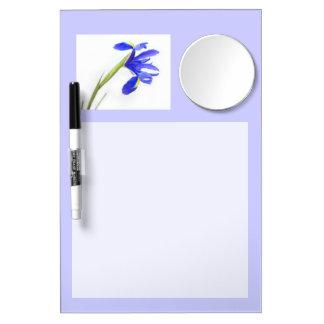 Lila Iris-Blume Trockenlöschtafel Mit Spiegel