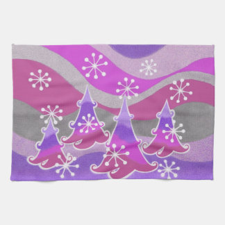 Lila Küchentuch der Winter-Bäume