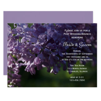 Lila lila Blumen-Posten-HochzeitBrunch laden ein 12,7 X 17,8 Cm Einladungskarte