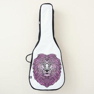 Lila Löwe-Kunst auf weißem Gitarren-Kasten Gitarrentasche
