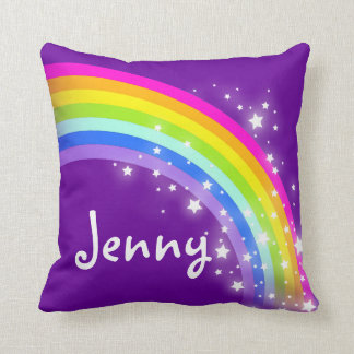 lila Mädchen des Regenbogens Kissen