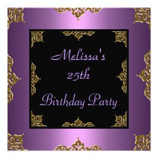 Lila Malvenfarbe laden 25 Geburtstags-Party ein Individuelle Einladungskarte