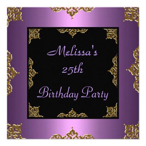 Lila Malvenfarbe laden 25. Geburtstags-Party ein Individuelle Einladungskarte
