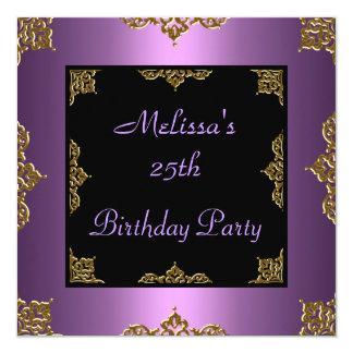 Lila Malvenfarbe laden 25. Geburtstags-Party ein Quadratische 13,3 Cm Einladungskarte