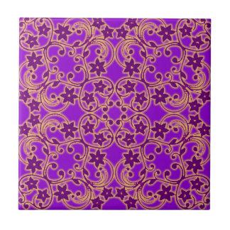 Lila marokkanisches Muster Kleine Quadratische Fliese