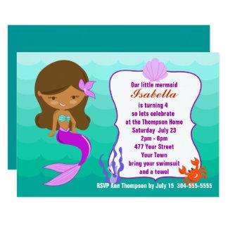 Lila Meerjungfrau-Pool-Party 12,7 X 17,8 Cm Einladungskarte