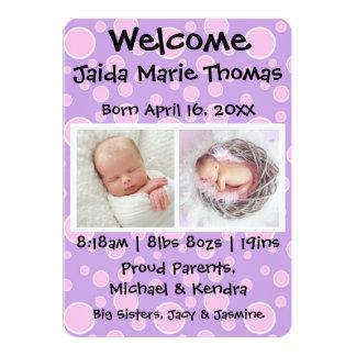 Lila mit rosa Punkten u. Foto-Geburts-Mitteilung 12,7 X 17,8 Cm Einladungskarte