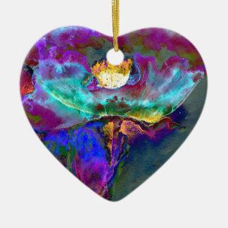 Lila Mitternachtsmohnblume Keramik Ornament