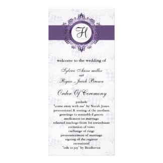 lila Monogramm Hochzeitsprogramm Bedruckte Werbekarte