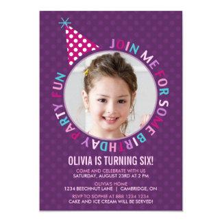 Lila Party-Hut-Kindergeburtstag-Party Einladung