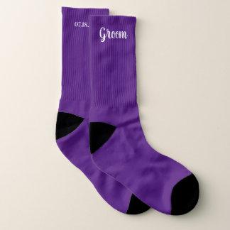 Lila personalisierte Bräutigam-Hochzeit Socken