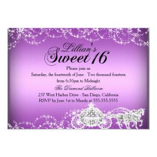 Lila Pferdewagen-Prinzessin Sweet 16 laden ein 12,7 X 17,8 Cm Einladungskarte