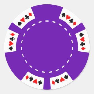 Lila Poker-und Spiel-Chip Runder Aufkleber