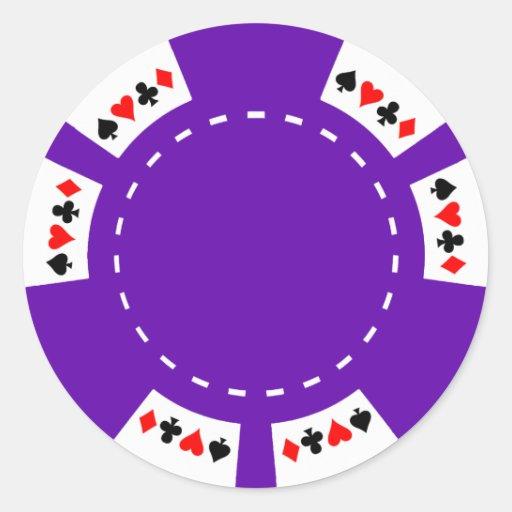 Lila Poker-und Spiel-Chip Runde Aufkleber