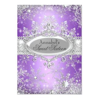 Lila Prinzessin Winter Wonderland Sweet 16 laden 11,4 X 15,9 Cm Einladungskarte