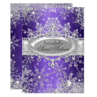 Lila Prinzessin Winter Wonderland Sweet 16 laden Karte