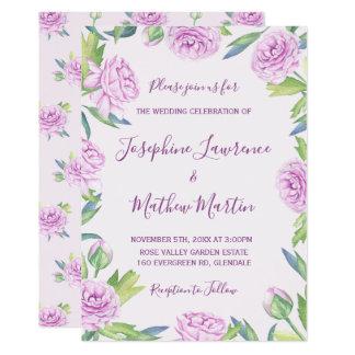 Lila Ranunculus-Frühlings-Hochzeits-Einladungen Karte